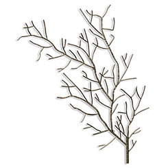Silver Metal Tree Branch Plaque