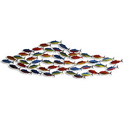 Multicolored School of Fish Metal Plaque