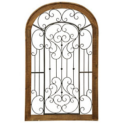 Arched Wood and Metal Scroll Gate Plaque