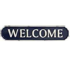 Blue and White Metal Welcome Plaque