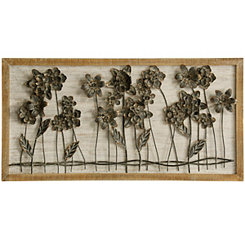 3D Flower Bed Metal and Wood Framed Wall Plaque
