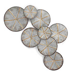 Rope Wound Galvanized Metal Disks Wall Plaque