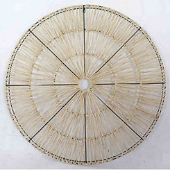 Metal and Natural Materials Disk Wall Plaque