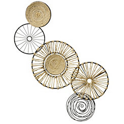 Metal and Natural Abstract Disks Wall Plaque