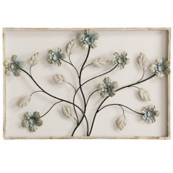 Floral 3D Wood and Metal Framed Wall Plaque