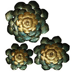 Blue and Gold Metal Flower Wall Plaques, Set of 3