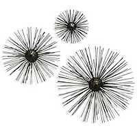 Aged Nickel Starburst Wall Plaques, Set of 3