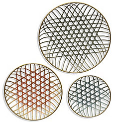 Wave Colorful Dimensional Wall Plaques, Set of 3
