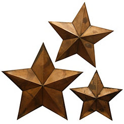 Copper Metal Star Wall Plaques, Set of 3