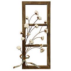 Wood, Metal, and Cotton Window II Wall Plaque