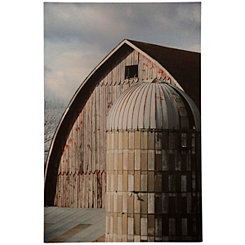 Silver Silo Aluminum Print on Wooden Panel Plaque