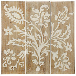 Graphic Floral Connecting Wood Plaques, Set of 3