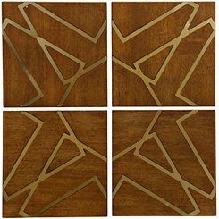 Contemporary Geometric Wood Plaques, Set of 4