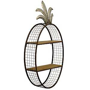 Pineapple Metal Shelf with Black Wire Mesh Frame