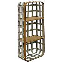 Industrial Metal and Wood Galvanized Basket Shelf