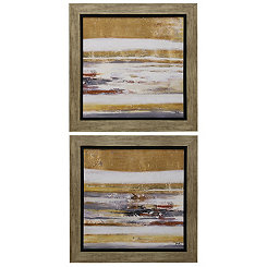 Gold and White Abstract Framed Prints, Set of 2