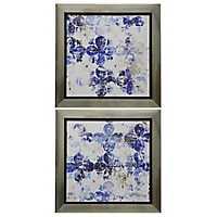 Abstract Blue Floral Framed Prints, Set of 2