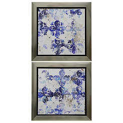 Abstract Blue Floral Framed Prints, Set of 2