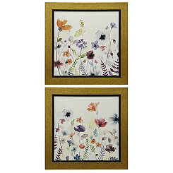 Watercolor Garden Flowers Framed Prints, Set of 2