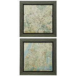 Nostalgic Street Maps Framed Prints, Set of 2