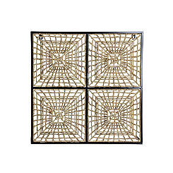 Hand Woven Basket Panel in Metal Frame Wall Plaque