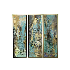 Abstract Blue Framed Canvas Art Prints, Set of 3