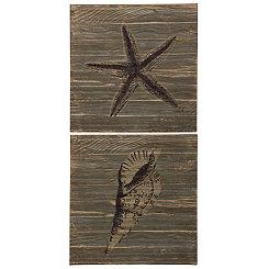 Seashell Motifs Wooden Wall Plaques, Set of 2