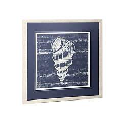 Blue and White Shell Framed Art Print