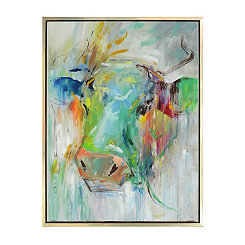 Hand Painted Cow Framed Canvas Art Print