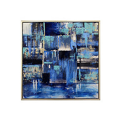 Hand Painted Indigo Framed Canvas Art Print