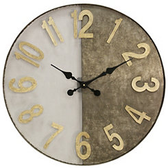 Wire Mesh and Galvanized Metal Wall Clock