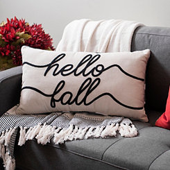Hello Fall Embroidered Buffalo Check Accent Pillow