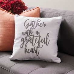 Gather with a Grateful Heart Buffalo Check Pillow