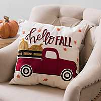Hello Fall Red Truck Pillow