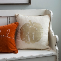 Metallic Copper Pumpkin Stitched Edge Pillow