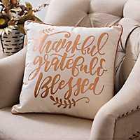 Metallic Copper Thankful Grateful Blessed Pillow