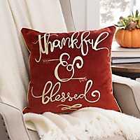 Velvet Thankful and Blessed Pillow