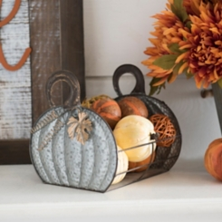 Galvanized Metal Pumpkin Basket with Leaf Accents