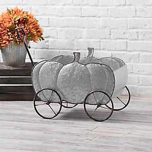 Galvanized Metal Pumpkin Wagon