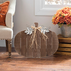 Wood Pumpkin with Galvanized Leaf Easel