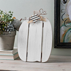White Pumpkin with Galvanized Leaf Easel, 12 in.