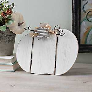White Pumpkin with Galvanized Leaf Easel, 8 in.