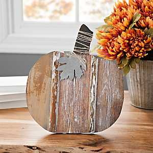 Plank Pumpkin and Galvanized Leaf Easel, 15 in.