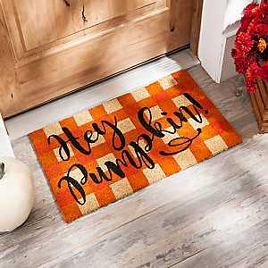 Hey Pumpkin Buffalo Check Doormat