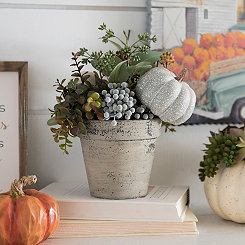 Pumpkin and Greenery Pot Floral Arrangement