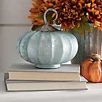 Blue Glass Pumpkin with Metal Stem