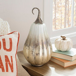 Silver Glass Pumpkin with Metal Stem