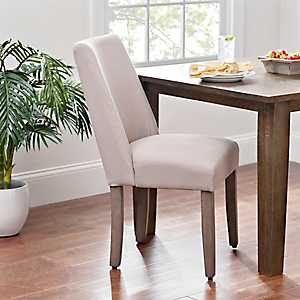 Wing Back Taupe Gray Linen Dining Chair