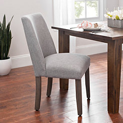 Wing Back Smoke Gray Linen Dining Chair