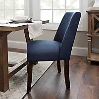 Wing Back Navy Linen Dining Chair
